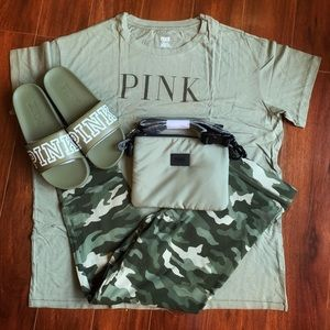 4pc Olive Green VS Pink Outfit